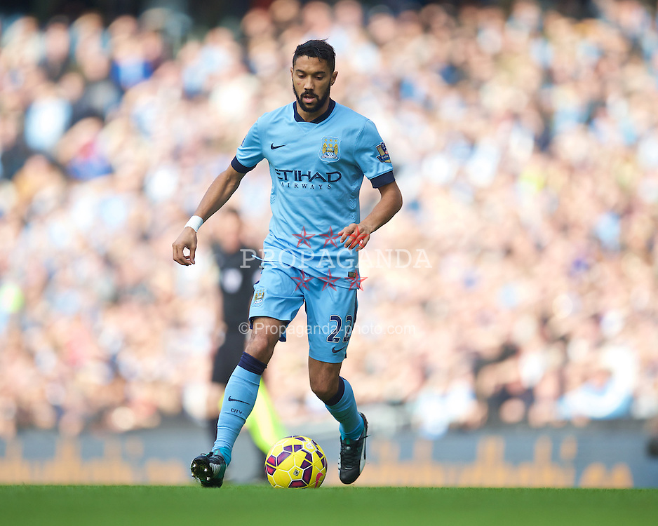 MANCHESTER, ENGLAND - Sunday, November 2, 2014: Manchester City's Gael Clichy in action against Manchester United during the Premier League match at the City of Manchester Stadium. (Pic by David Rawcliffe/Propaganda)
