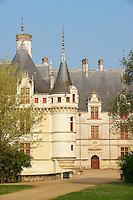 France, Indre-et-Loire (37), Vallée de la Loire classée Patrimoine Mondial de l' UNESCO, château d' Azay-le-Rideau. // France, Indre et Loire (department), Loire valley (Unesco World Heritage), Azay le Rideau castle.
