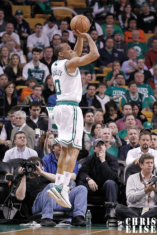 14 May 2012: Boston Celtics shooting guard Avery Bradley (0) takes a three points jumpshot during the Philadelphia Sixers 82-81 victory over the Boston Celtics, in Game 2 of the Eastern Conference semifinals playoff series, at the TD Banknorth Garden, Boston, Massachusetts, USA.
