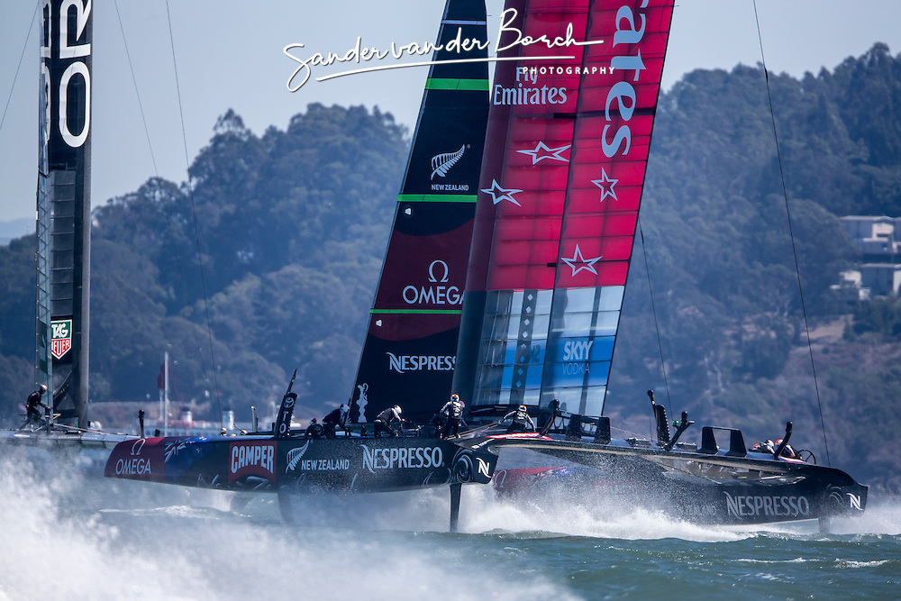 Oracle Team USA vs. Emirates Team New Zealand, Race 9 and 10, Oracle Team USA wins race 9 and ETNZ wins race 10, ETNZ leads now 7-1. September 15th, San Francisco.