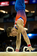 Brinn Bevan of Great Britain (GBR) on the Pommel Horse during the iPro Sport World Cup of Gymnastics 2017 at the O2 Arena, London, United Kingdom on 8 April 2017. Photo by Martin Cole.