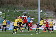 Ebbsfleet goalkeeper punches clear during the National League South Play Off 1st Leg match between Whitehawk FC and Ebbsfleet United at the Enclosed Ground, Whitehawk, United Kingdom on 4 May 2016. Photo by Phil Duncan.