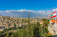 Zahle skyline cityscape  in Beeka valley Lebanon Middle east