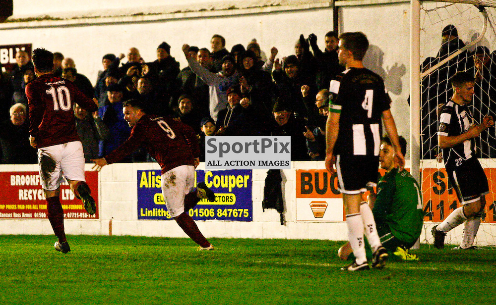 Linlithgow's Colin Strickland wheels away to celebrate after giving Linlithgow a 3-1 lead against Wick in tonights William Hill scottish cup tie at Linlithgow