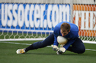 Brad Guzan, of the United States, warms up before the game on Sunday, February 19th, 2005 at Pizza Hut Park in Frisco, Texas. The United States Men's National Team defeated Guatemala 4-0 in a men's international friendly.
