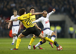 BRITAIN-LONDON-FOOTBALL-UEFA CHAMPIONS LEAGUE-TOTTENHAM VS DORTMUND.(190213) -- LONDON, Feb.13, 2019  Tottenham Hotspur's Lucas Moura (R) gets away from Borussia Dortmund's Axel Witsel (L) during the UEFA Champions League Round of 16 1st Leg match between Tottenham Hotspur and Borussia Dortmund at Wembley Stadium in London, Britain on Feb. 13, 2019. Tottenham Hotspur won 3-0.  FOR EDITORIAL USE ONLY. NOT FOR SALE FOR MARKETING OR ADVERTISING CAMPAIGNS. NO USE WITH UNAUTHORIZED AUDIO, VIDEO, DATA, FIXTURE LISTS, CLUB/LEAGUE LOGOS OR ''LIVE'' SERVICES. ONLINE IN-MATCH USE LIMITED TO 45 IMAGES, NO VIDEO EMULATION. NO USE IN BETTING, GAMES OR SINGLE CLUB/LEAGUE/PLAYER PUBLICATIONS. (Credit Image: © Xinhua via ZUMA Wire)