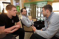 Matej Gaber, Peter Pucelj and Matjaz Brumen of Slovenia Men Handball team during 3rd day of 10th EHF European Handball Championship Serbia 2012, on January 17, 2012 in Hotel Srbija, Vrsac, Serbia.  (Photo By Vid Ponikvar / Sportida.com)
