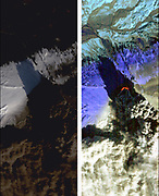 On Sat., April 17, 2010, the Hyperion instrument on-board NASA's Earth Observing-1 (EO-1) spacecraft obtained this pair of images of the continuing eruption of Iceland's Eyjafjallajökull volcano. In the left-hand image, created from visible wavelengths, new black ash deposits are visible on the ground, as well as nearby brilliant unsullied ice and snow and the volcano's brown, billowing plume. The plume's dark colour reflects its large ash content. These fine particles of pulverized rock are carried high into the atmosphere, where they create a hazard for aviation and are carried long distances by the prevailing winds. In contrast, the false-colour, infrared image at the right reveals the intense thermal emissions (at least 60 megawatts, or 60 million watts) emanating from the vent at the base of the massive plume. This thermal emission, equivalent to the energy consumption of 60,000 homes, represents only a small proportion of the total energy being released by the volcano as its molten lava interacts violently with ice and water. Each image covers an area measuring 7.7 kilometres (4.8 miles) wide, and has a resolution of 30 meters (98 feet) per pixel. The vertical direction is north-northeast. The EO-1 spacecraft is managed by NASA's Goddard Space Flight Centre, Greenbelt, Md. EO-1 is the satellite remote-sensing asset used by the Volcano Sensor Web developed by NASA's Jet Propulsion Laboratory, Pasadena, Calif., which is being used to monitor this, and other, volcanic eruptions around the world.