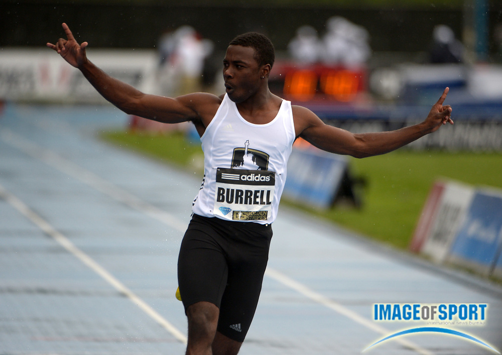 May 25, 2013; New York, New York, USA; Cameron Burrell celebrates after winning the Dream 100m in 10.40 in the 2013 Adidas Grand Prix at Icahn Stadium.