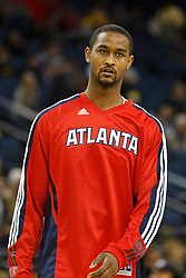 February 25, 2011; Oakland, CA, USA;  Atlanta Hawks center Hilton Armstrong (31) warms up before the game against the Golden State Warriors at Oracle Arena. Atlanta defeated Golden State 95-79.