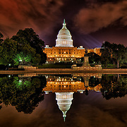The Capitol Reflecting Pool at night, Washington, D.C.