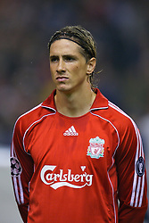 Liverpool, England - Wednesday, October 3, 2007: Liverpool's Fernando Torres lines-up to face Olympique de Marseille before the UEFA Champions League Group A match at Anfield. (Photo by David Rawcliffe/Propaganda)