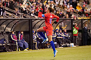 USA forward Carli Lloyd (10) celebrates after scoring a goal during an international friendly women's soccer match against Sweden, Thursday, Nov. 7, 2019, in Columbus, Ohio. USA defeated Sweden 3-2 . (Jason Whitman/Image of Sport)