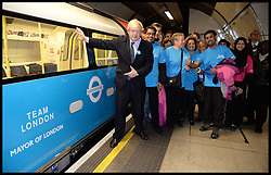 London Mayor Boris at London Bridge Tube with Volunteers as he and Shane Warne boost Olympic sporting and volunteering legacy at <br /> The Oval, London<br /> The Oval Cricket Ground, London<br /> Thursday, 30th May 2013<br /> Picture by Andrew Parsons / i-Images