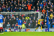 Christian Fassnacht (#16) of BSC Young Boys runs to celebrate after BSC Young Boys draw level through an own goal during the Europa League Group G match between Rangers FC and BSC Young Boys at Ibrox Park, Glasgow, Scotland on 12 December 2019.