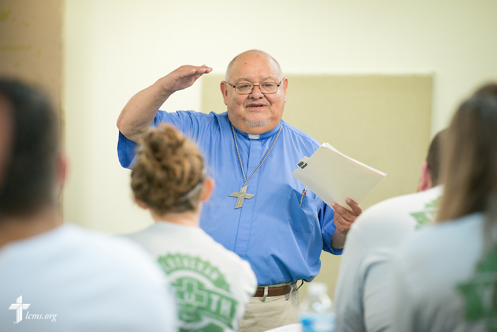 The Rev. Dr. Carlos Hernandez, director of LCMS Church and Community Engagement, leads a Gospel Seeds session during the 2014 Youth Corps pilot project at Shepherd of the City Lutheran Church on Tuesday, August 12, 2014, in Philadelphia, Pa. LCMS Communications/Erik M. Lunsford