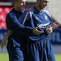 Scotland U-21 training at McDiarmid Park ..19.08.02<br />James McFadden clowning around during training<br /><br />Picture by Graeme Hart.<br />Copyright Perthshire Picture Agency<br />Tel: 01738 623350  Mobile: 07990 594431
