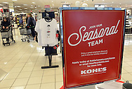 """RETAIL11P<br /> A seasonal hiring sign greets customers at Kohl's Friday October 2, 2015 in Yardley, Pennsylvania.  Kohl's plans to add 69,000 seasonal jobs, with hiring to start this month, """"to ensure an easy shopping experience and great service during the busy holiday shopping season.""""  William Thomas Cain /For The Inquirer"""