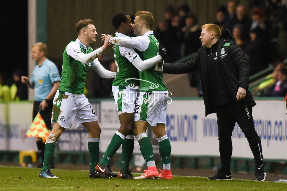 22 Florian Kamberi is congratulated for scoring goal during the Ladbrokes Scottish Premiership match between Hibernian and Motherwell at Easter Road, Edinburgh, Scotland on 31 January 2018. Picture by Kevin Murray.