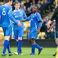 East Fife v St Johnstone...11.07.12  Pre-Season Friendly<br /> Nigel Hasselbaink celebrates his goal with Liam Craig and Murray Davidson<br /> Picture by Graeme Hart.<br /> Copyright Perthshire Picture Agency<br /> Tel: 01738 623350  Mobile: 07990 594431