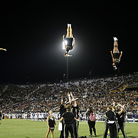 ORLANDO, FL - OCTOBER 14: UCF cheerleaders perform during a NCAA football game between the East Carolina Pirates and the UCF Knights at Spectrum Stadium on October 14, 2017 in Orlando, Florida. (Photo by Alex Menendez/Getty Images)