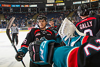 KELOWNA, CANADA - OCTOBER 23:  Leif Mattson #28 of the Kelowna Rockets celebrates a goal against the Swift Current Broncos on October 23, 2018 at Prospera Place in Kelowna, British Columbia, Canada.  (Photo by Marissa Baecker/Shoot the Breeze)