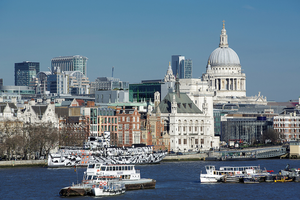 Daytime view of the London skyline looking towards the financial centre and St Paul's Cathedral