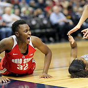 HARTFORD, CONNECTICUT- DECEMBER 19: Shayla Cooper #32 of the Ohio State Buckeyes reacts after committing an offensive foul on Crystal Dangerfield #5 of the Connecticut Huskies as she drives to the basket during the UConn Huskies Vs Ohio State Buckeyes, NCAA Women's Basketball game on December 19th, 2016 at the XL Center, Hartford, Connecticut (Photo by Tim Clayton/Corbis via Getty Images)