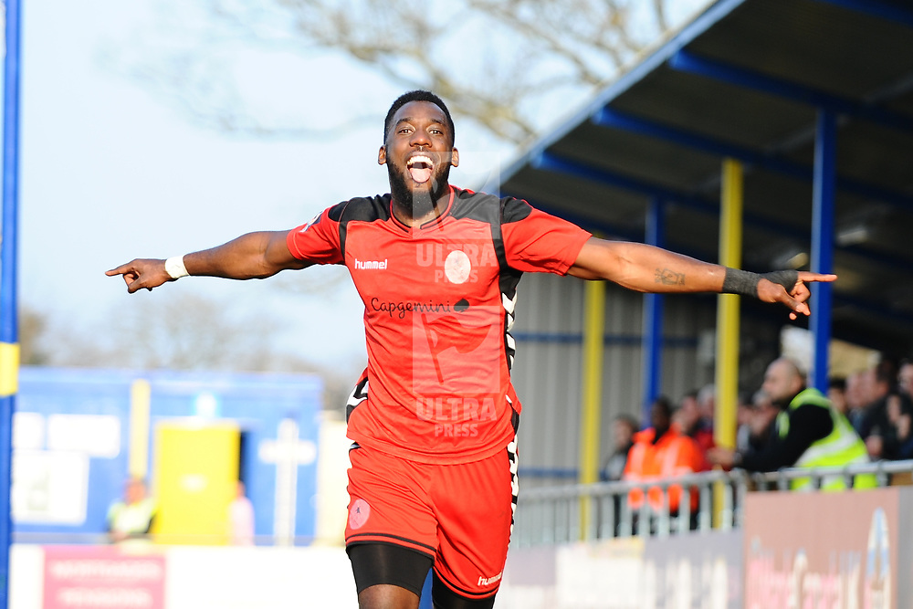 TELFORD COPYRIGHT MIKE SHERIDAN 23/2/2019 - GOAL. Amari Morgan Smith of AFC Telford celebrates after scoring to make it 1-0 during the FA Trophy quarter final fixture between Solihull Moors and AFC Telford United at the Automated Technology Group Stadium