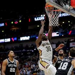 Nov 19, 2018; New Orleans, LA, USA; New Orleans Pelicans forward Julius Randle (30) shoots against the San Antonio Spurs during the second quarter at the Smoothie King Center. Mandatory Credit: Derick E. Hingle-USA TODAY Sports