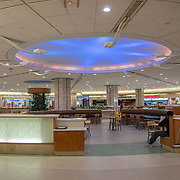 The food court at Orlando International Airport remains functional but mostly empty to air passengers due to the Coronavirus (Covid-19) outbreak on Friday, April 17, 2020 in Orlando, Florida. (Alex Menendez via AP)
