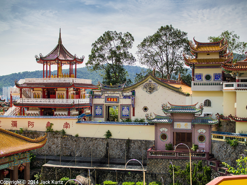 08 OCTOBER 2014 - GEORGE TOWN, PENANG, MALAYASIA: Kek Lok Si Temple in George Town (also Georgetown), the capital of the state of Penang in Malaysia. Named after Britain's King George III, George Town is located on the north-east corner of Penang Island. The inner city has a population of 720,202 and the metropolitan area known as George Town Conurbation which consists of Penang Island, Seberang Prai, Kulim and Sungai Petani has a combined population of 2,292,394, making it the second largest metropolitan area in Malaysia. The inner city of George Town is a UNESCO World Heritage Site and one of the most popular international tourist destinations in Malaysia.      PHOTO BY JACK KURTZ