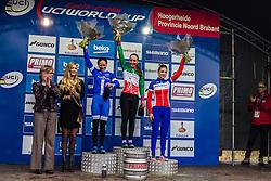 Podium: 1st Eva Lechner (ITA), 2nd Katerina Nash (CZE) & 3rd Pauline Ferrand Prevot (FRA), Women, Cyclo-cross World Cup Hoogerheide, The Netherlands, 25 January 2015, Photo by Thomas van Bracht / PelotonPhotos.com