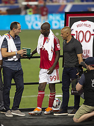 August 5, 2018 - Harrison, New Jersey, United States - General Manager Marc de Grandpre gives Rolex watches during New York Red Bulls honored Bradley Wright-Phillips for scoring fastest 100 goals in MLS history after game against LAFC at Red Bull Arena Red Bulls won 2 - 1  (Credit Image: © Lev Radin/Pacific Press via ZUMA Wire)