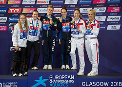 Women's Synchronised 3m Springboard Final medal presentation (left to right) Germany's Lena Hentschel and Tina Punzel, Italy's Elena Bertocchi and Chiara Pellacani and Russia's Kristina Ilinykh and Nadezhda Bazhina during day eleven of the 2018 European Championships at the Royal Commonwealth Pool, Edinburgh. PRESS ASSOCIATION Photo. Picture date: Sunday August 12, 2018. See PA story DIVING European. Photo credit should read: Ian Rutherford/PA Wire. RESTRICTIONS: Editorial use only, no commercial use without prior permission