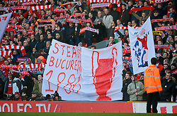 LIVERPOOL, ENGLAND - Saturday, February 6, 2010: Liverpool supporters celebrate Steaua Bucharest's 1986 European Cup victory during the Premiership match at Anfield. The 213th Merseyside Derby. (Photo by: David Rawcliffe/Propaganda)