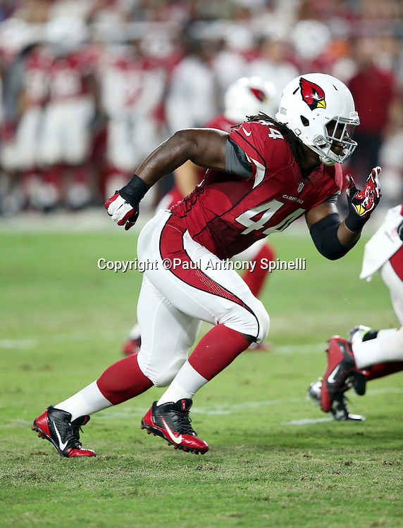 Arizona Cardinals outside linebacker Markus Golden (44) chases the action during the 2015 NFL preseason football game against the San Diego Chargers on Saturday, Aug. 22, 2015 in Glendale, Ariz. The Chargers won the game 22-19. (©Paul Anthony Spinelli)