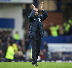 Brighton and Hove Albion manager Chris Hughton applauds the fans at the final whistle - Mandatory by-line: Jack Phillips/JMP - 10/03/2018 - FOOTBALL - Goodison Park - Liverpool, England - Everton v Brighton and Hove Albion - English Premier League
