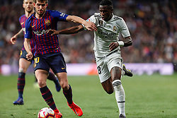 March 2, 2019 - Madrid, Spain - Real Madrid CF's Vinicius Jr and FC Barcelona's Sergi Roberto during La Liga match between Real Madrid and FC  Barcelona at Santiago BernabÈu in Madrid..Final Score: Real Madrid 0 - 1 FC Barcelona (Credit Image: © Manu Reino/SOPA Images via ZUMA Wire)