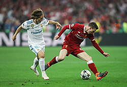 Luka Modric of Real Madrid and Andy Robertson of Liverpool in action during the UEFA Champions League final football match between Liverpool and Real Madrid at the Olympic Stadium in Kiev, Ukraine on May 26, 2018. Photo by Andriy Yurchak / Sportida