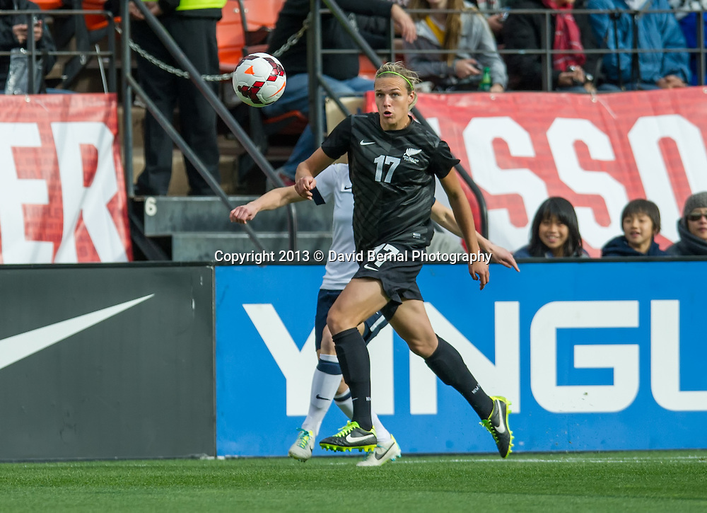 Hannah Wilkinson in action - SAN FRANCISCO, CA - October 27, 2013:  The US Women's National Team vs New Zealand match in Candlestick Park in San Francisco, CA. Final score US Women's National Team 4, New Zealand 1.