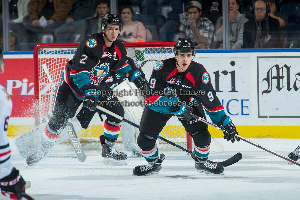 KELOWNA, CANADA - OCTOBER 20: James Hilsendager #2 and Marek Skvrne #9 of the Kelowna Rockets block shots on the net by the Portland Winterhawks on October 20, 2017 at Prospera Place in Kelowna, British Columbia, Canada.  (Photo by Marissa Baecker/Shoot the Breeze)  *** Local Caption ***