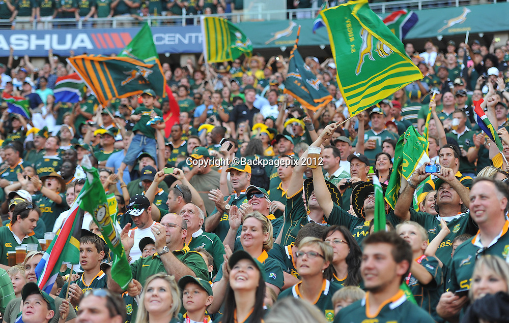 Fans of South Africa during the 2012 Castle Rugby Championship on the 6 October 2012 at Soccer City in Johannesburg ©Chris Ricco/BackpagePix