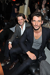 Left to right, LOUIS DOWLER and DAVID GANDY at a party to celebrate the launch of the new Vertu Constellation phone - the luxury phonemakers first touchscreen handset, held at the Farmiloe Building, St.John Street, Clarkenwell, London on 24th November 2011.