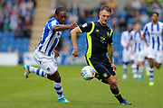 Carlisle United's Clint Hill Colchester United's Brandon Hanlan battles for possession during the EFL Sky Bet League 2 match between Colchester United and Carlisle United at the Weston Homes Community Stadium, Colchester, England on 14 October 2017. Photo by Phil Chaplin