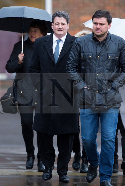 © Licensed to London News Pictures. 02/02/2016. Chichester, UK. PAUL PRICE (centre in blue tie), stepfather of Katie Price, arrives at Chichester Crown Court. Mr Price faces a charge of rape. Photo credit: Peter Macdiarmid/LNP