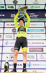 Winner Primoz Roglic of Team Lotto NL Jumbo celebrates in green jersey as best in Overall classification during trophy ceremony after the 5th Time Trial Stage of 25th Tour de Slovenie 2018 cycling race between Trebnje and Novo mesto (25,5 km), on June 17, 2018 in  Slovenia. Photo by Vid Ponikvar / Sportida