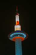 Night photography of Kyoto Tower in Downtown Kyoto Japan