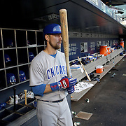 NEW YORK, NEW YORK - June 30: Ben Zobrist #18 of the Chicago Cubs in the dugout preparing to bat during the Chicago Cubs Vs New York Mets regular season MLB game at Citi Field on June 30, 2016 in New York City. (Photo by Tim Clayton/Corbis via Getty Images)