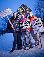 Members of Occupy Anchorage protesters: John Westlund, Joshua Leipold, Amber Fenton, and Christina Mounces on Town Square, downtown, Anchorage.